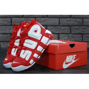 Женские высокие кроссовки Air More Uptempo x Supreme красного цвета
