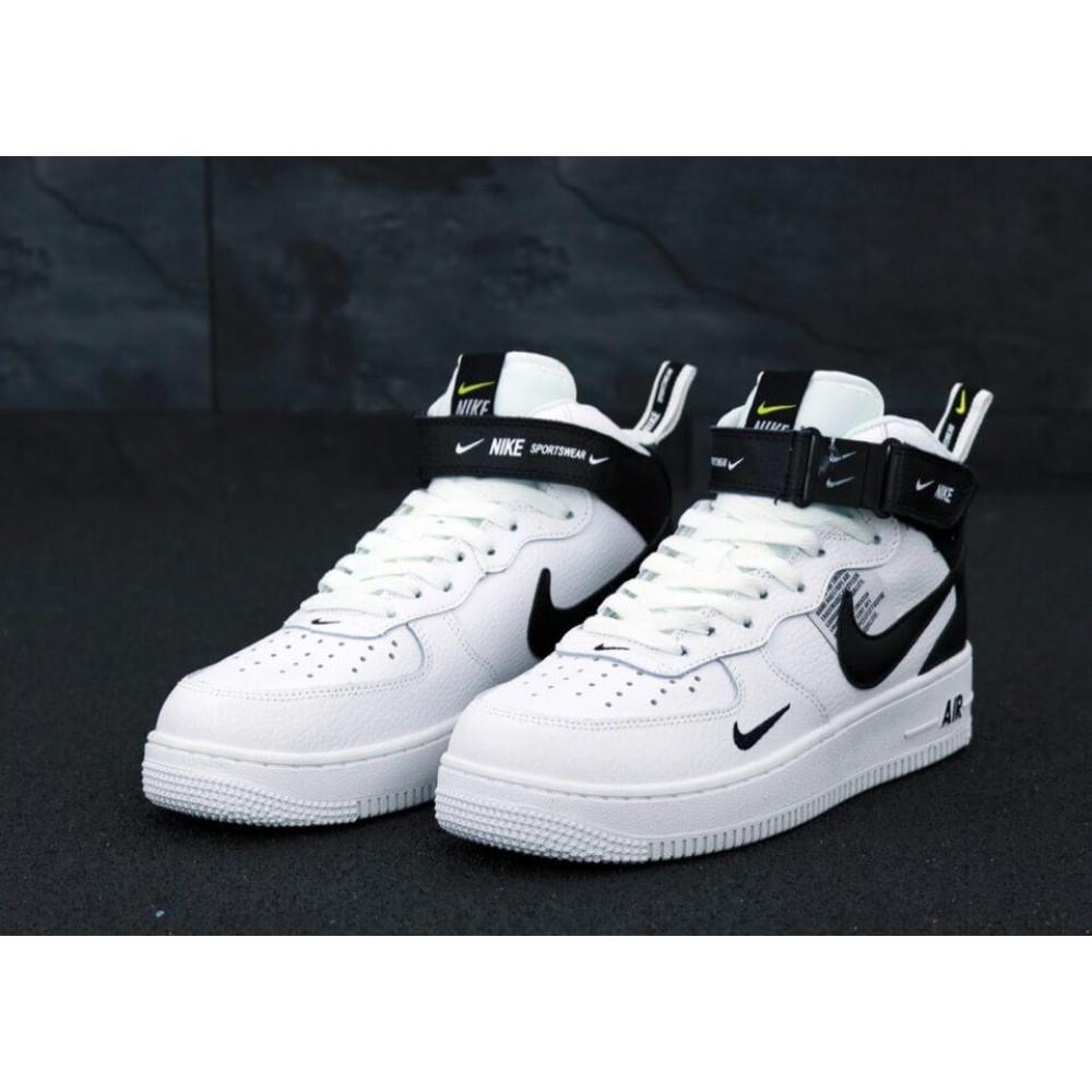 Демисезонные кроссовки мужские   - Мужские кроссовки Air Force 1 Mid TM White Black 2