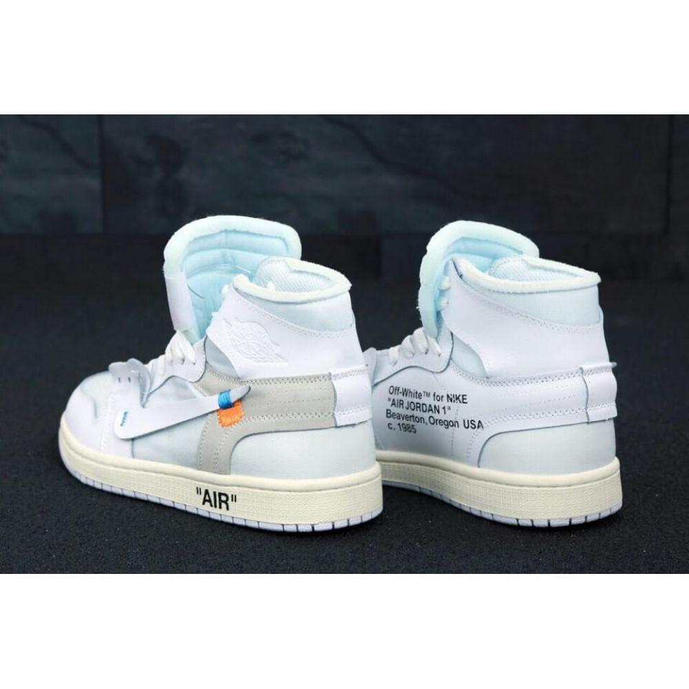 Демисезонные кроссовки мужские   - Белые высокие мужские кроссовки Air Jordan Off White 3