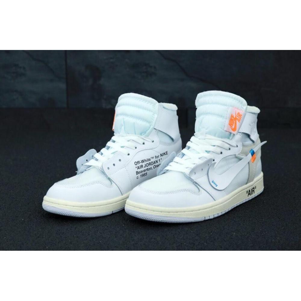 Демисезонные кроссовки мужские   - Белые высокие мужские кроссовки Air Jordan Off White 2