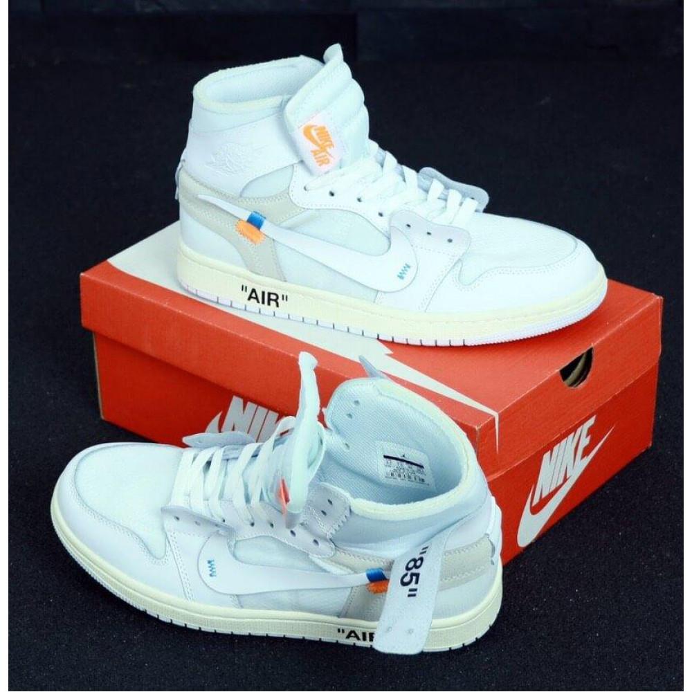 Демисезонные кроссовки мужские   - Белые высокие мужские кроссовки Air Jordan Off White 4
