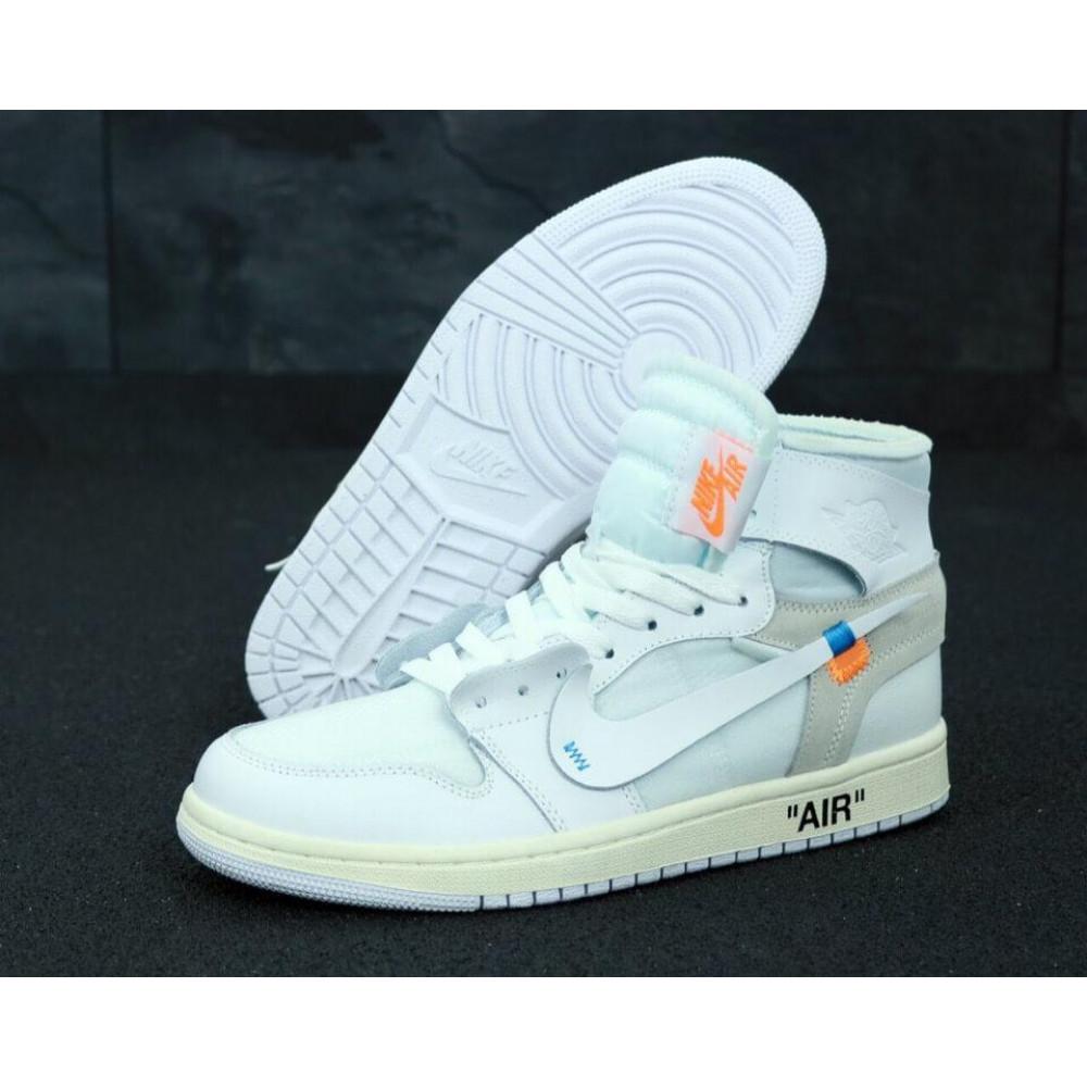 Демисезонные кроссовки мужские   - Белые высокие мужские кроссовки Air Jordan Off White 1