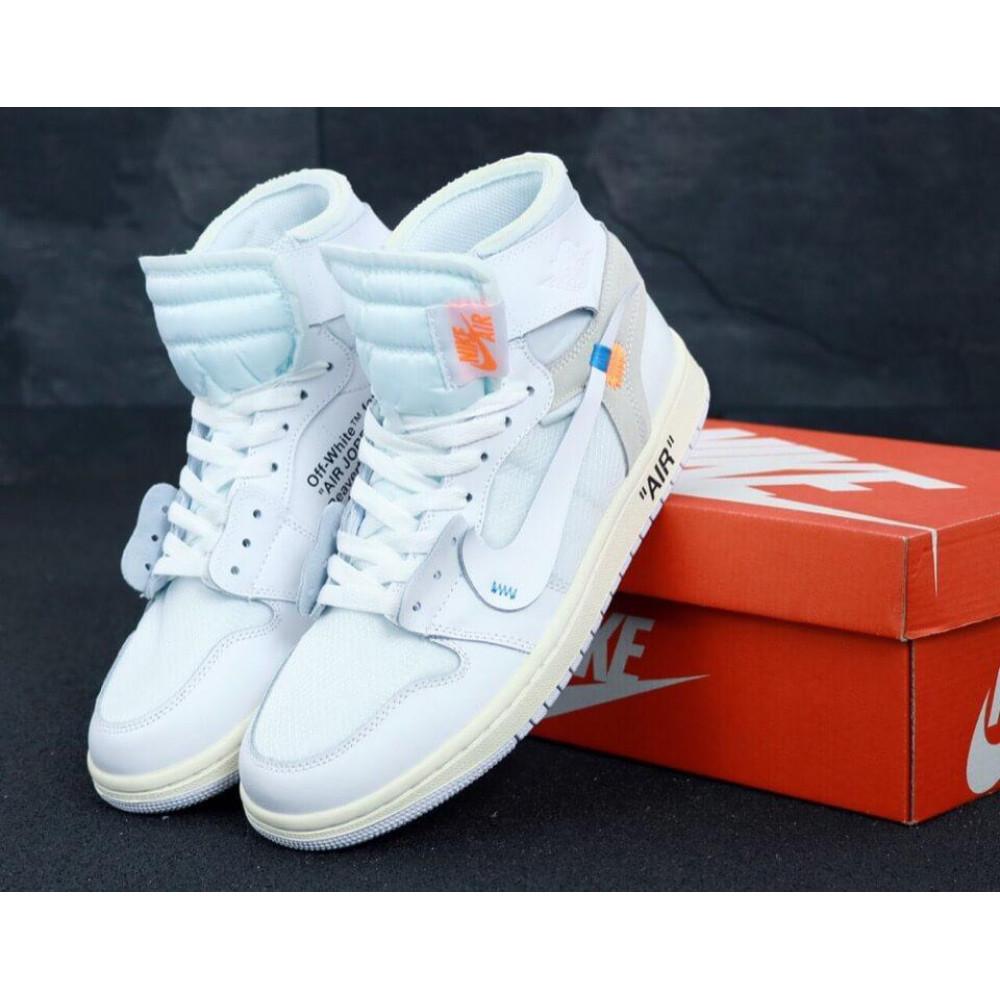 Демисезонные кроссовки мужские   - Белые высокие мужские кроссовки Air Jordan Off White