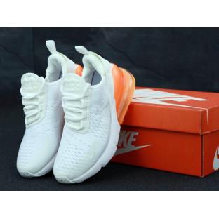 Женские кроссовки Air Max 270 белые с оранжевым