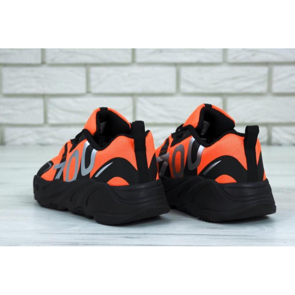 Беговые кроссовки мужские  - Мужские кроссовки Adidas Yeezy 700 Mauve черно-оранжевые 1