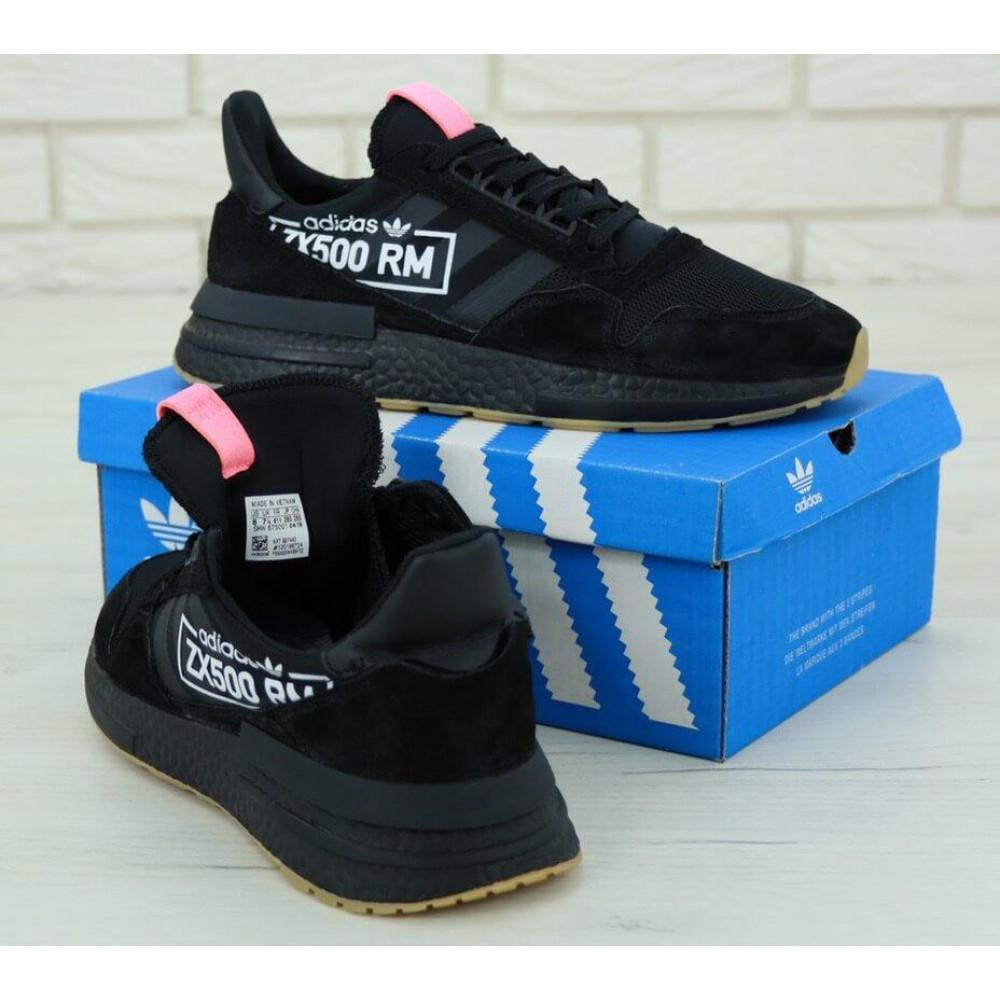 Беговые кроссовки мужские  - Мужские кроссовки Adidas ZX-500 RM Черные 3
