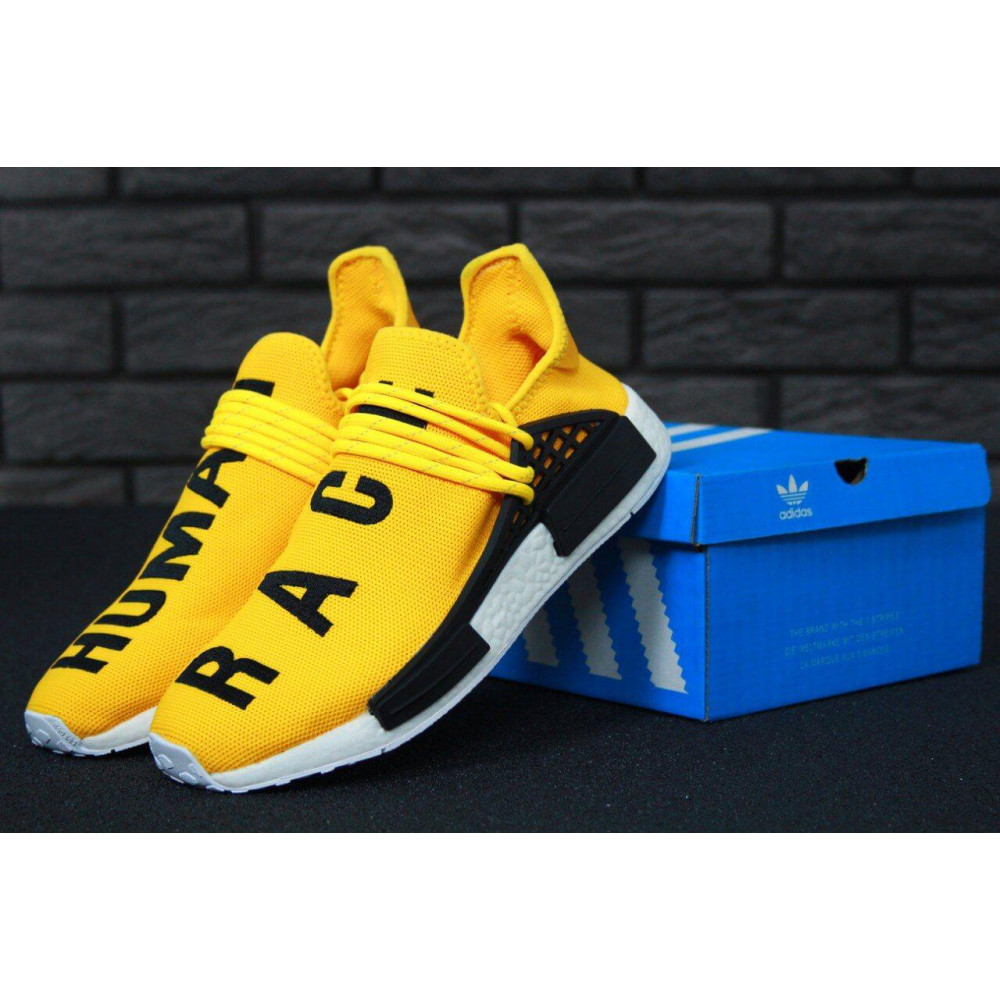Беговые кроссовки мужские  - Кроссовки Adidas Nmd Human Race Men Yellow Black White
