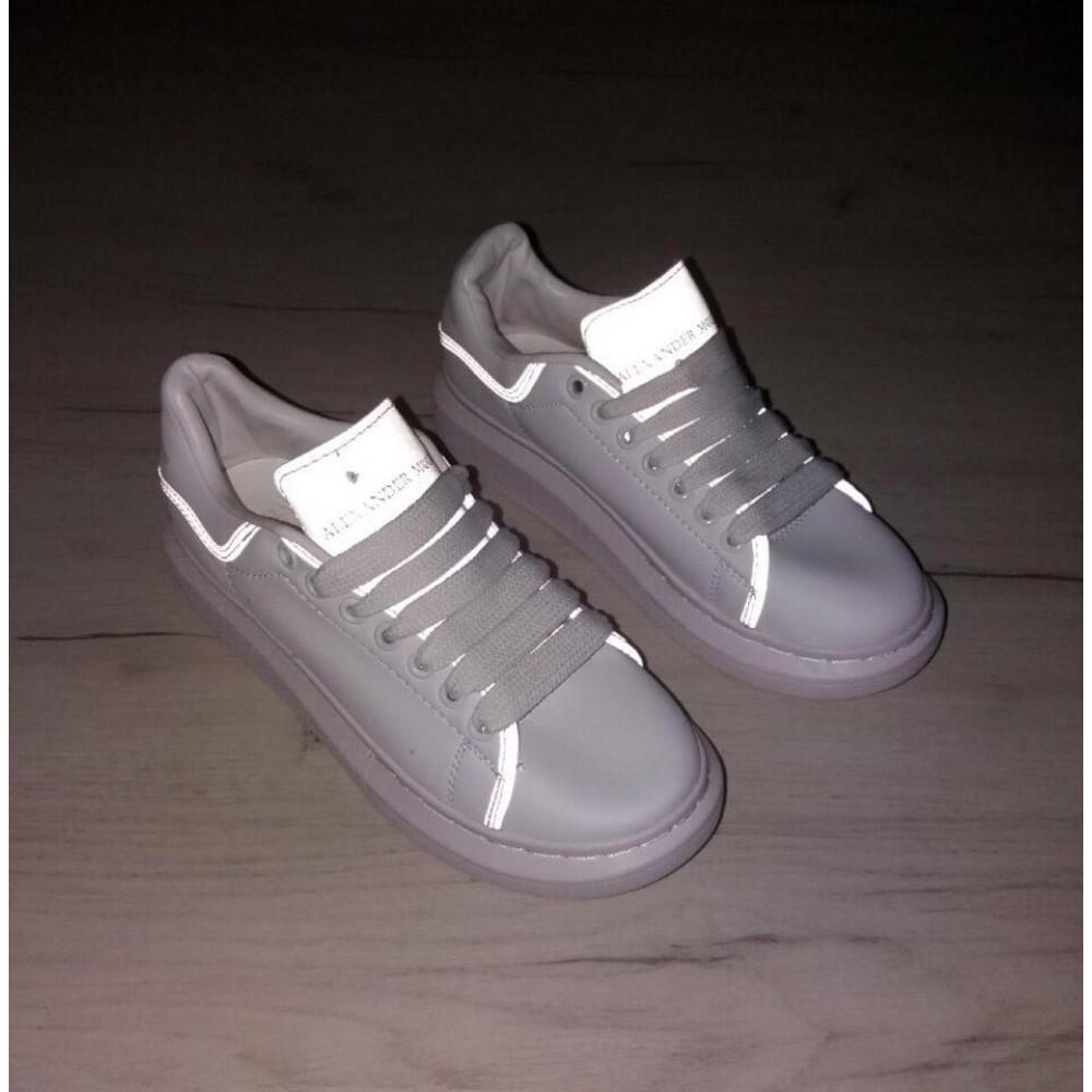 Женские кроссовки классические  - Женские кроссовки Alexander McQueen White Grey Reflective 5