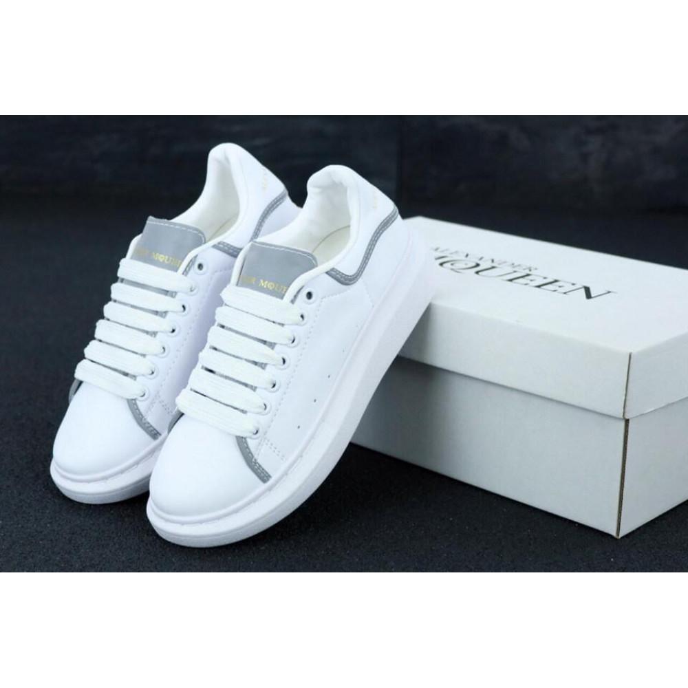 Женские кроссовки классические  - Женские кроссовки Alexander McQueen White Grey Reflective