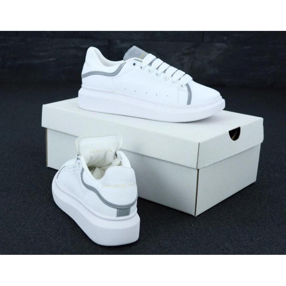 Женские кроссовки классические  - Женские кроссовки Alexander McQueen White Grey Reflective 3