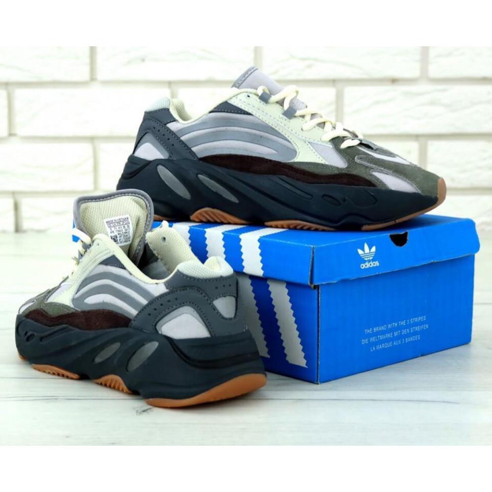 Демисезонные кроссовки мужские   - Мужские модные кроссовки Adidas Yeezy 700 Mauve серого цвета 4
