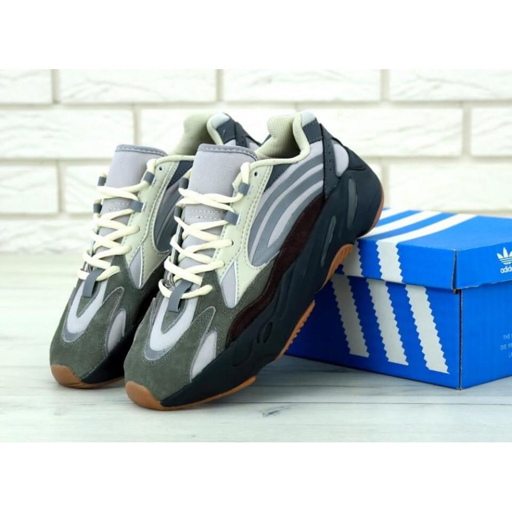 Демисезонные кроссовки мужские   - Мужские модные кроссовки Adidas Yeezy 700 Mauve серого цвета