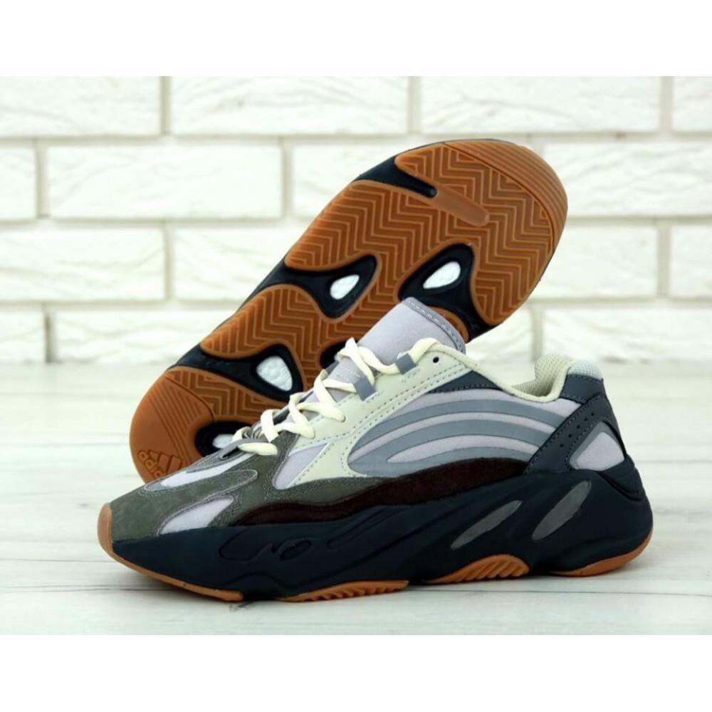 Демисезонные кроссовки мужские   - Мужские модные кроссовки Adidas Yeezy 700 Mauve серого цвета 1