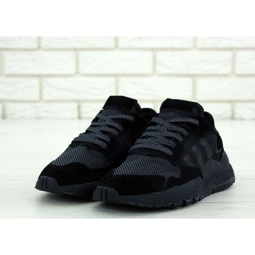 Демисезонные кроссовки мужские   - Кроссовки Adidas Nite Jogger Triple Black 2