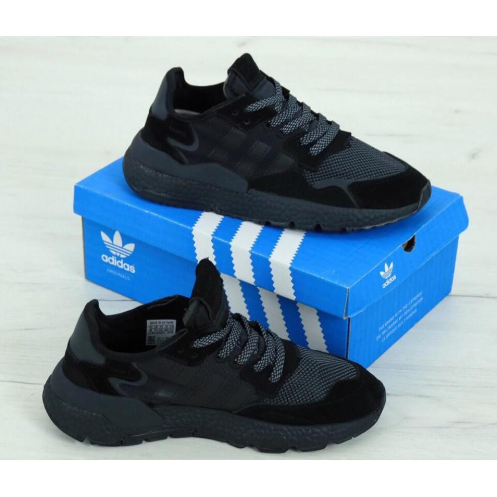 Демисезонные кроссовки мужские   - Кроссовки Adidas Nite Jogger Triple Black 3