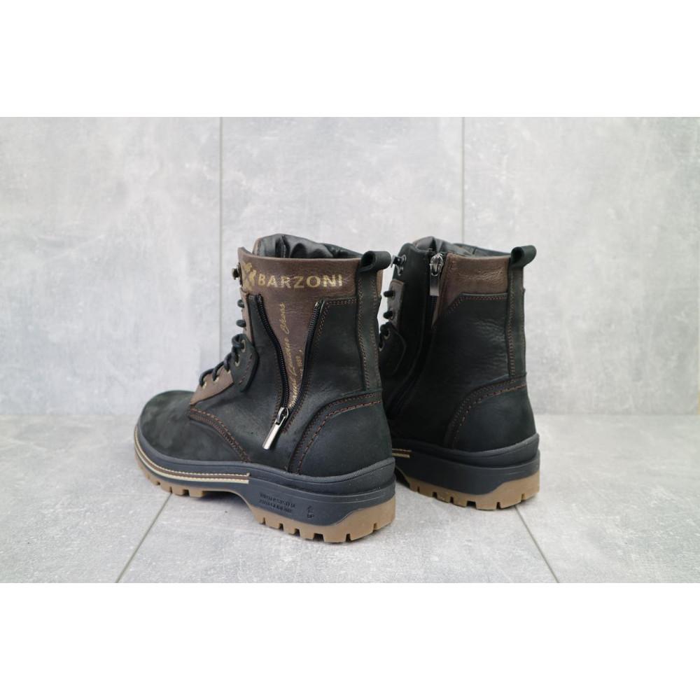 Мужские ботинки зимние - Мужские ботинки кожаные зимние черные-коричневые Barzoni 210 4