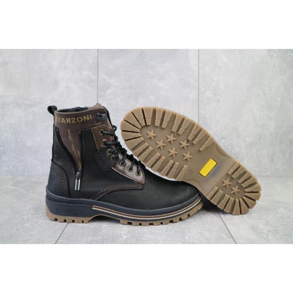 Мужские ботинки зимние - Мужские ботинки кожаные зимние черные-коричневые Barzoni 210 5