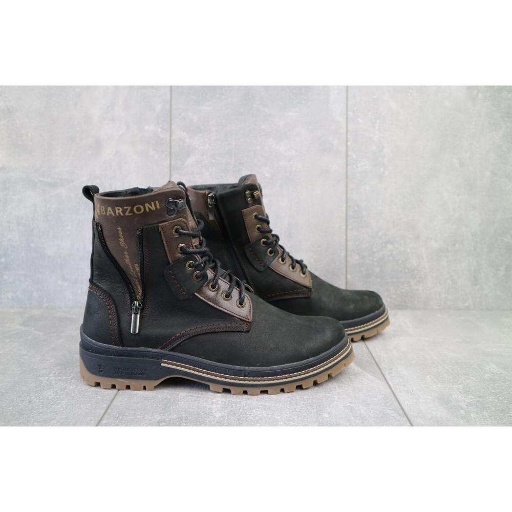 Мужские ботинки зимние - Мужские ботинки кожаные зимние черные-коричневые Barzoni 210 1
