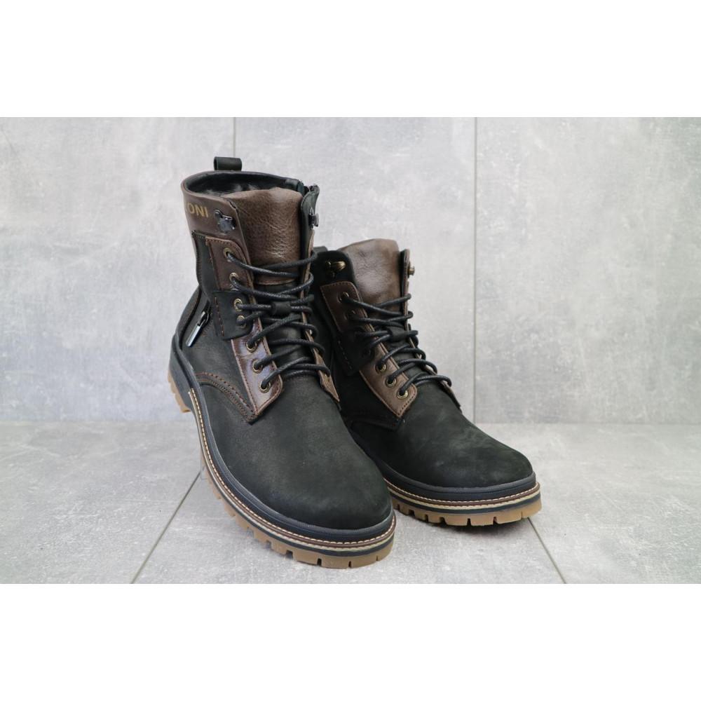 Мужские ботинки зимние - Мужские ботинки кожаные зимние черные-коричневые Barzoni 210