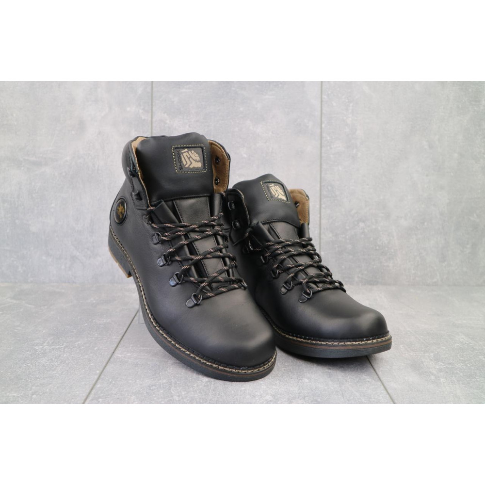 Мужские ботинки зимние - Мужские ботинки кожаные зимние черные Shark B150