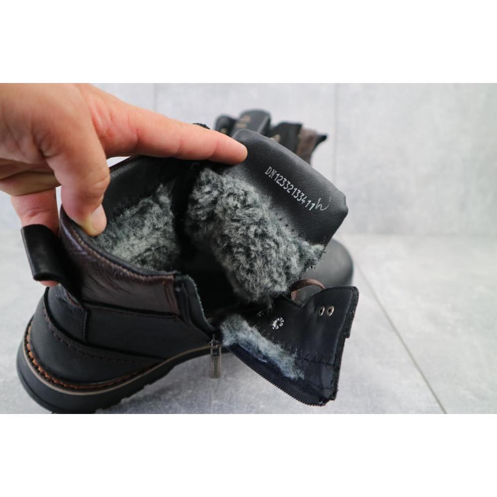 Мужские ботинки зимние - Мужские ботинки кожаные зимние черные Zangak 139 ч-крек 3