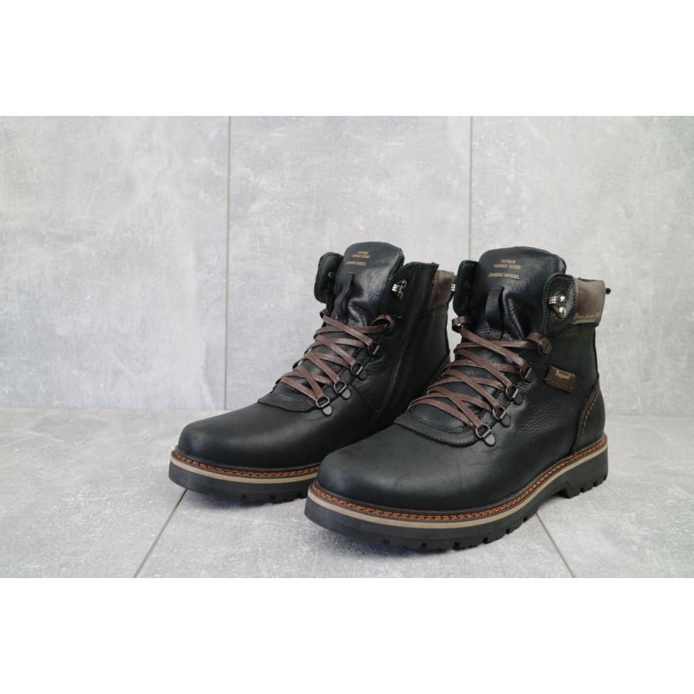 Мужские ботинки зимние - Мужские ботинки кожаные зимние черные Zangak 139 ч-крек 2