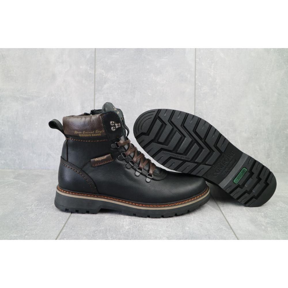 Мужские ботинки зимние - Мужские ботинки кожаные зимние черные Zangak 139 ч-крек 5