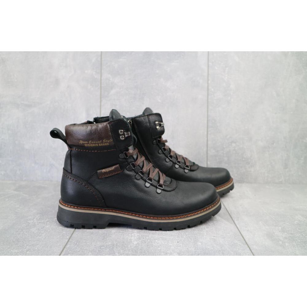 Мужские ботинки зимние - Мужские ботинки кожаные зимние черные Zangak 139 ч-крек 1