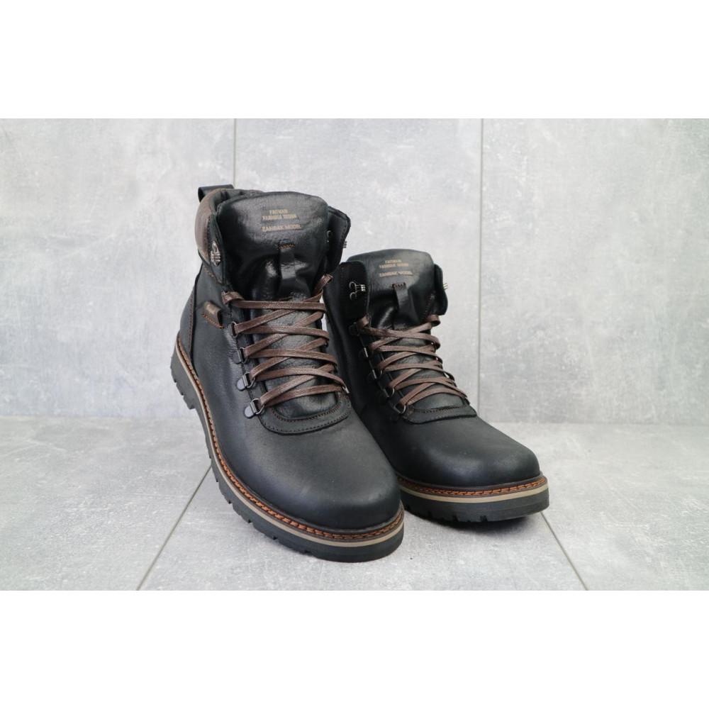 Мужские ботинки зимние - Мужские ботинки кожаные зимние черные Zangak 139 ч-крек