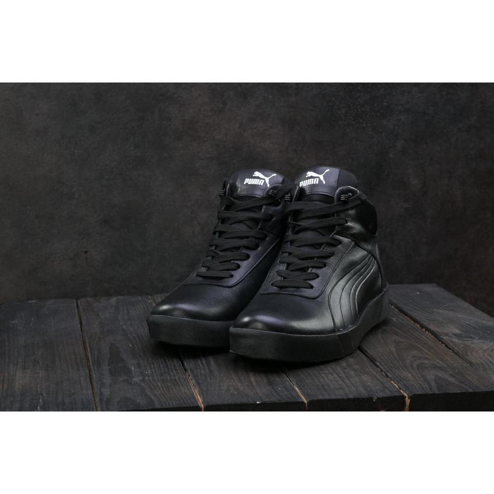 Мужские кеды зимние - Мужские кеды кожаные зимние черные Yuves 100 4