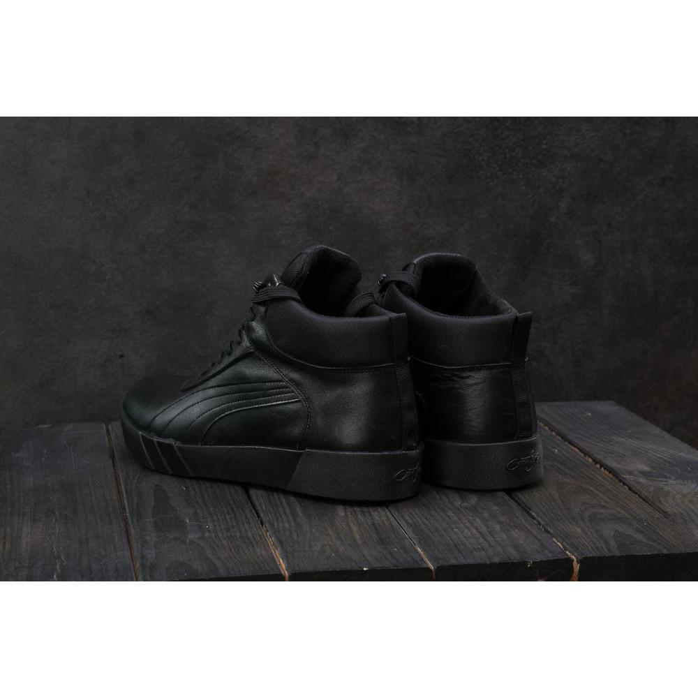 Мужские кеды зимние - Мужские кеды кожаные зимние черные Yuves 100 2