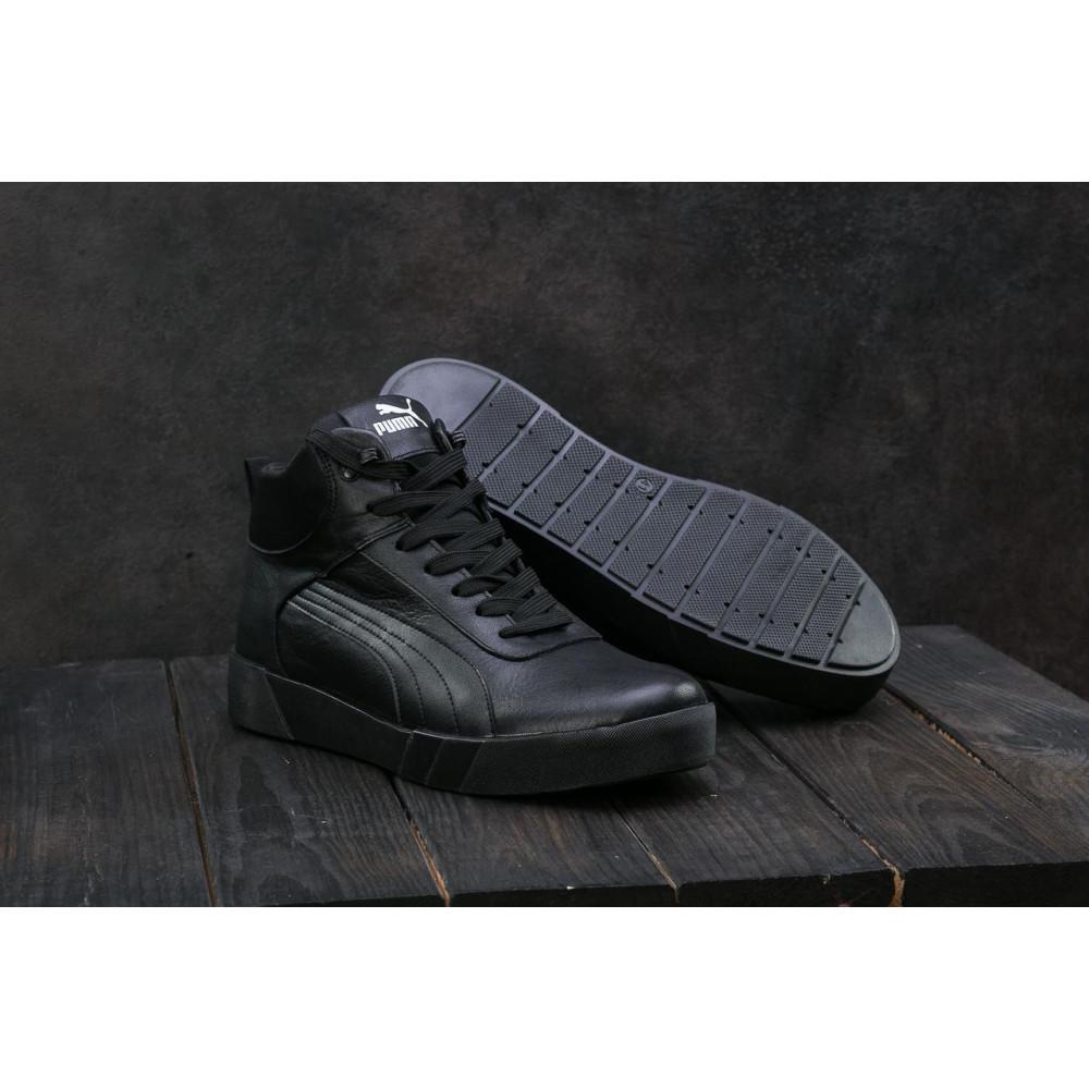 Мужские кеды зимние - Мужские кеды кожаные зимние черные Yuves 100 1