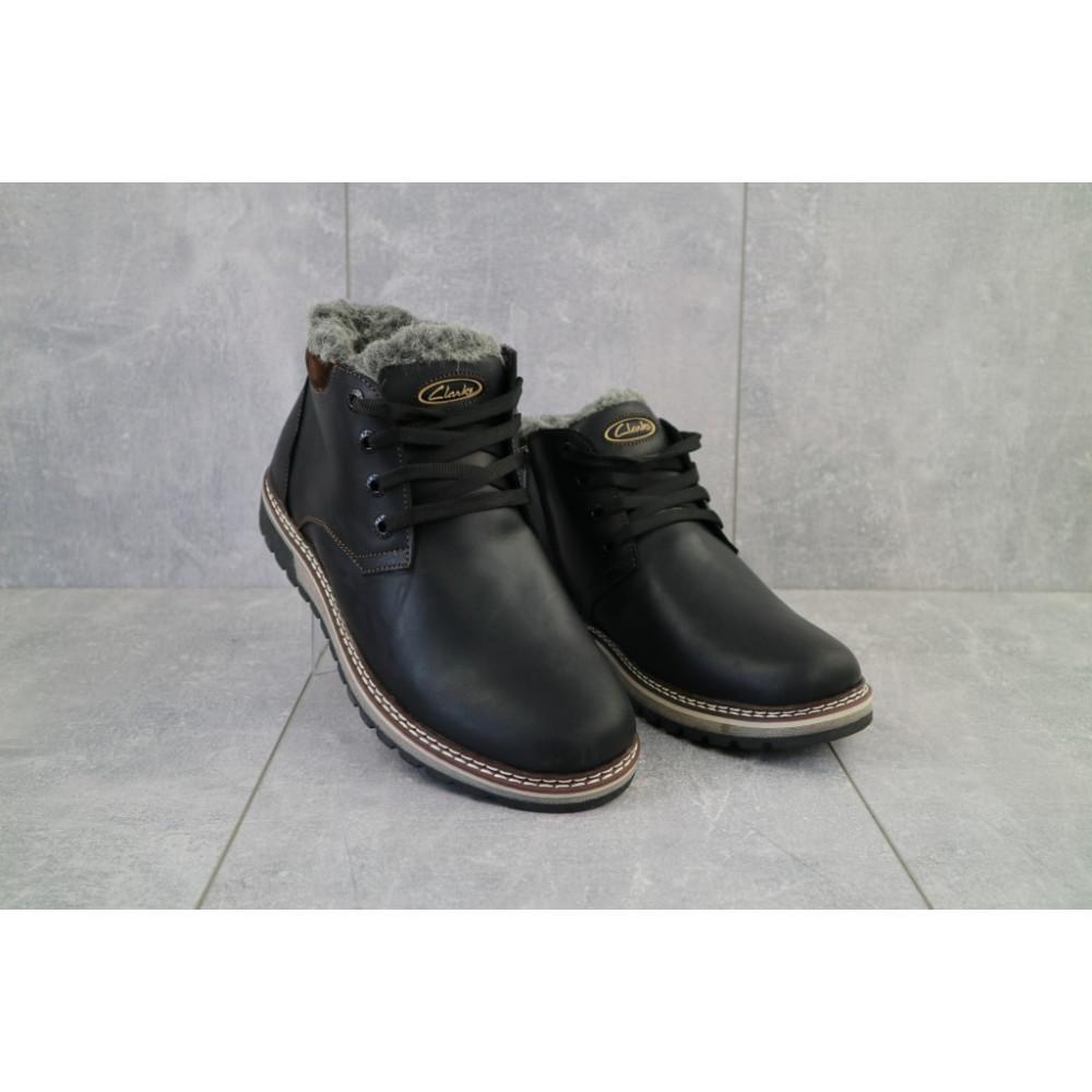 Мужские ботинки зимние - Мужские ботинки кожаные зимние черные-матовые Yuves Clas