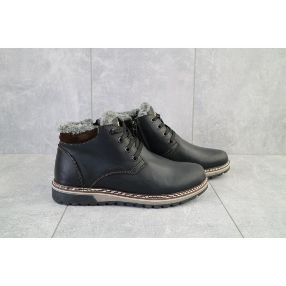 Мужские ботинки зимние - Мужские ботинки кожаные зимние черные-матовые Yuves Clas 6