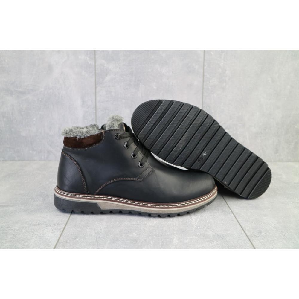 Мужские ботинки зимние - Мужские ботинки кожаные зимние черные-матовые Yuves Clas 5