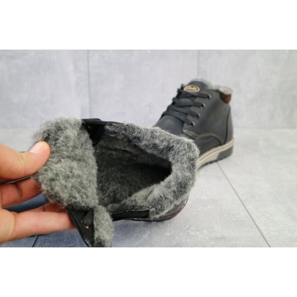 Мужские ботинки зимние - Мужские ботинки кожаные зимние черные-матовые Yuves Clas 2