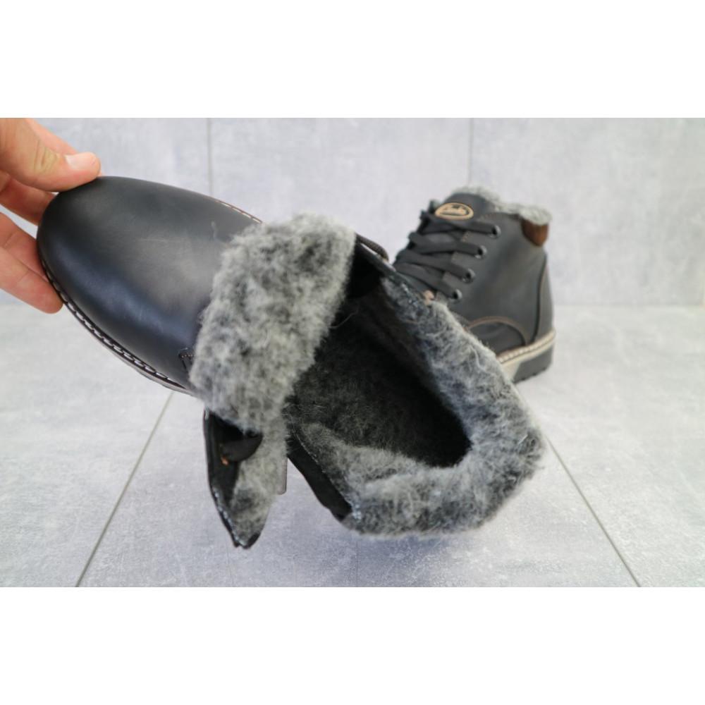 Мужские ботинки зимние - Мужские ботинки кожаные зимние черные-матовые Yuves Clas 1