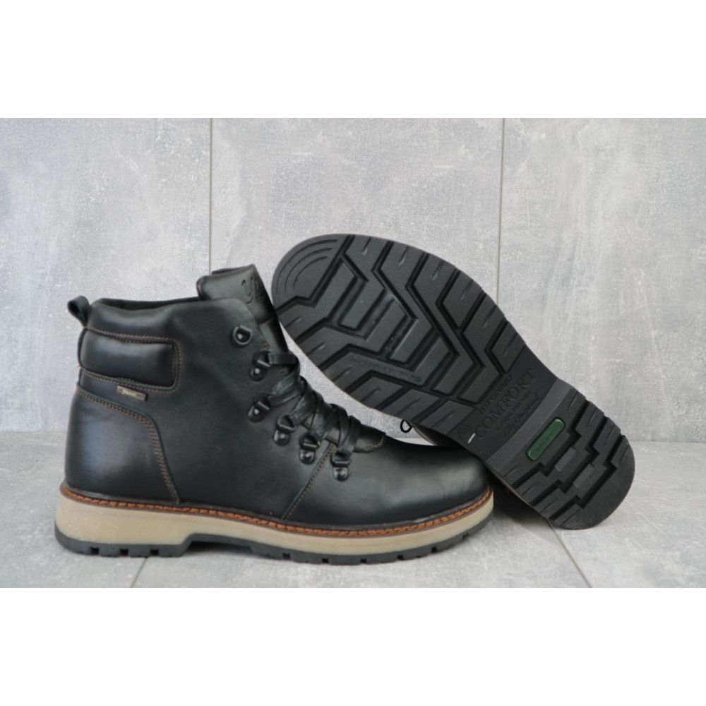Мужские ботинки зимние - Мужские ботинки кожаные зимние черные Yuves 776 5