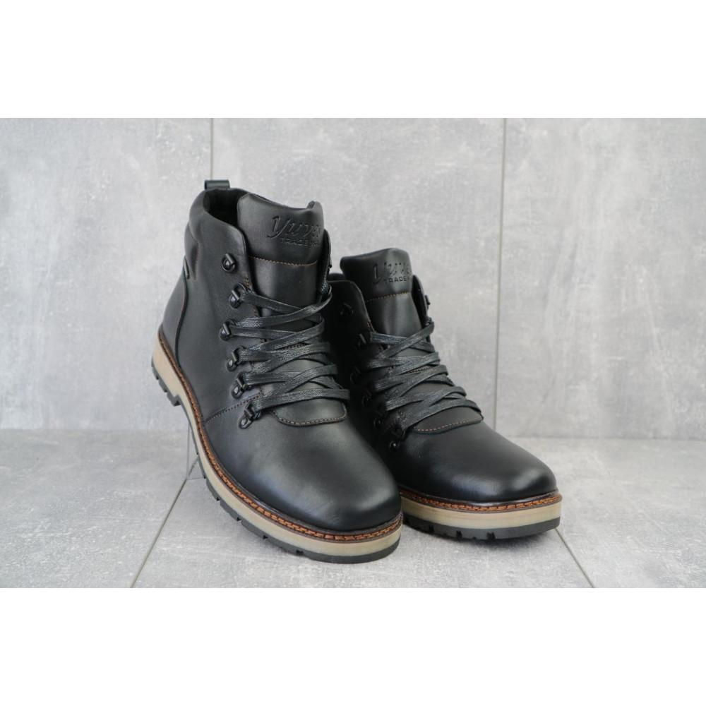 Мужские ботинки зимние - Мужские ботинки кожаные зимние черные Yuves 776