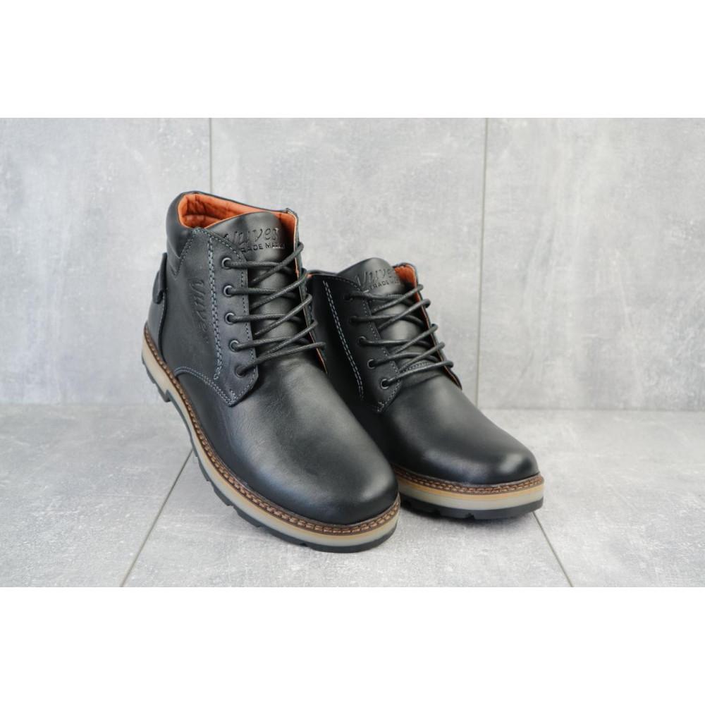 Мужские ботинки зимние - Мужские ботинки кожаные зимние черные Yuves 775