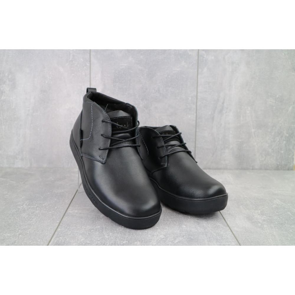 Мужские ботинки зимние - Мужские ботинки кожаные зимние черные Yuves 777chorn