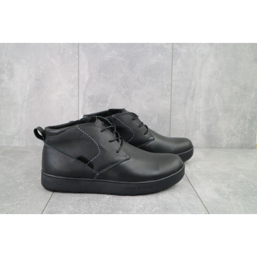 Мужские ботинки зимние - Мужские ботинки кожаные зимние черные Yuves 777chorn 9