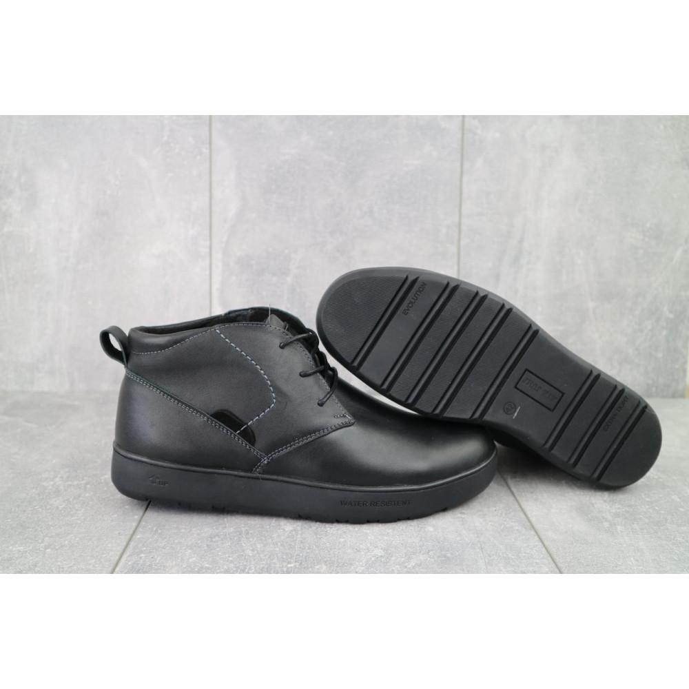 Мужские ботинки зимние - Мужские ботинки кожаные зимние черные Yuves 777chorn 8