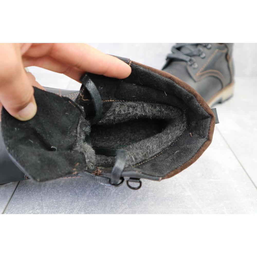 Мужские ботинки зимние - Мужские ботинки кожаные зимние черные-матовые Yuves 779 4