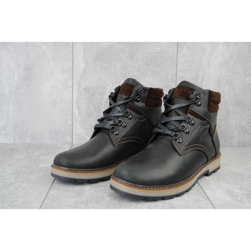 Мужские ботинки зимние - Мужские ботинки кожаные зимние черные-матовые Yuves 779 2
