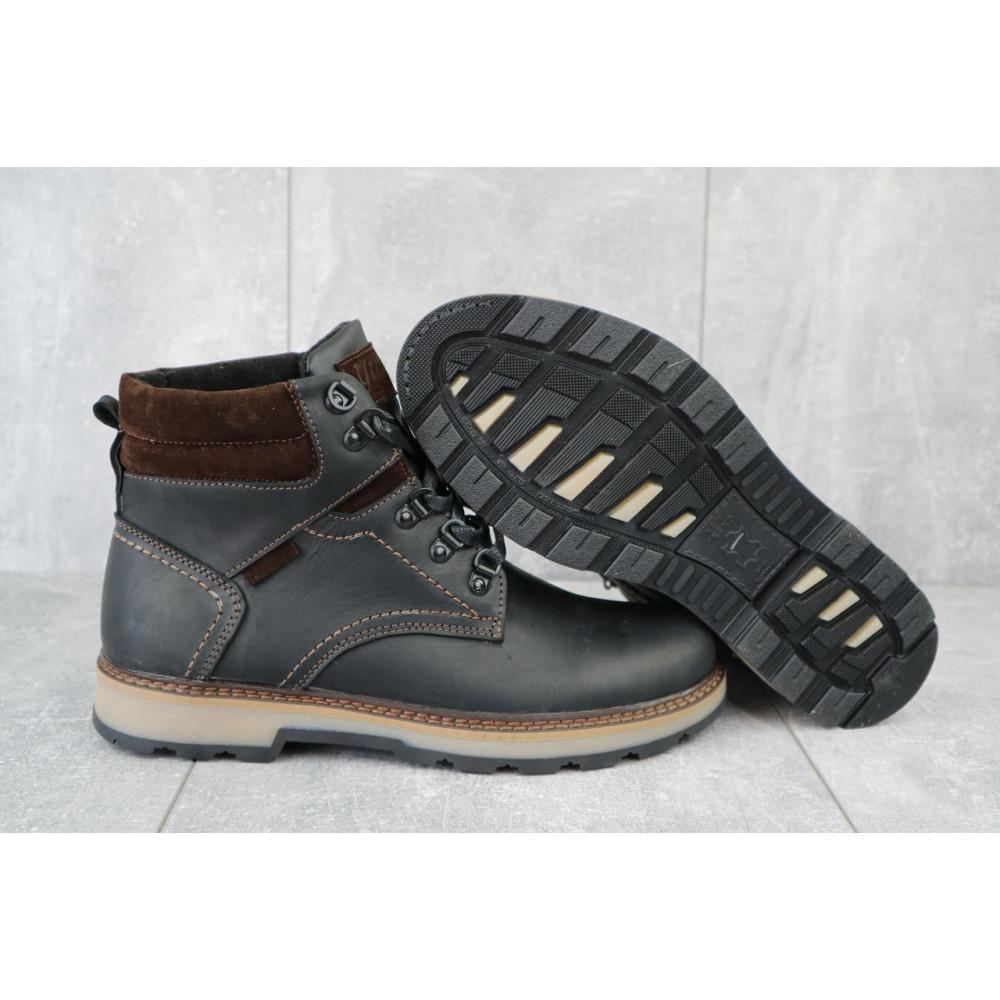 Мужские ботинки зимние - Мужские ботинки кожаные зимние черные-матовые Yuves 779 5