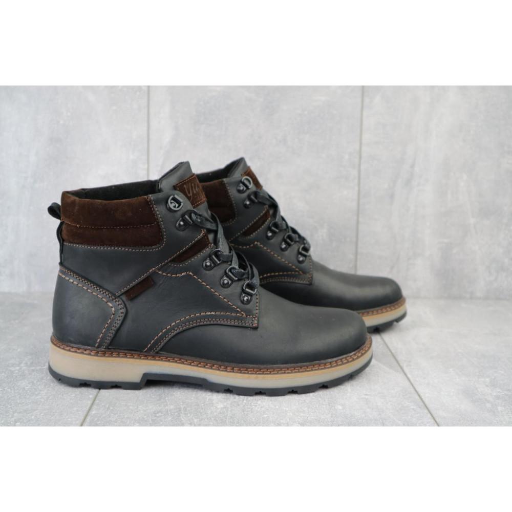 Мужские ботинки зимние - Мужские ботинки кожаные зимние черные-матовые Yuves 779 1