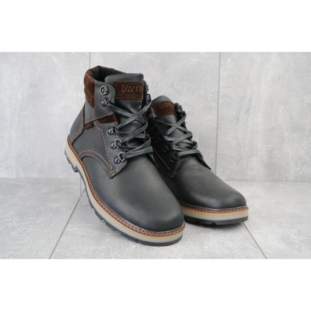 Мужские ботинки зимние - Мужские ботинки кожаные зимние черные-матовые Yuves 779