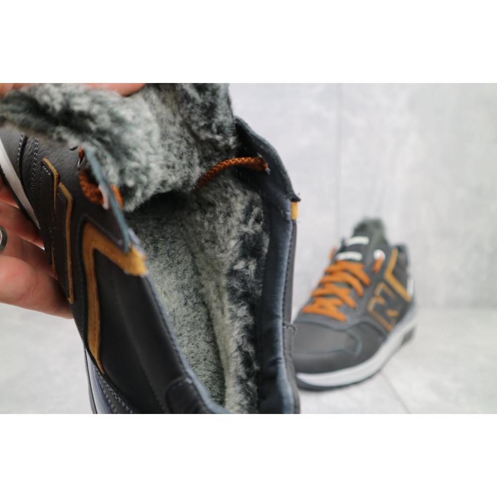 Зимние кроссовки мужские - Мужские кроссовки кожаные зимние черные-рыжие New Mercury круз ч-р 1