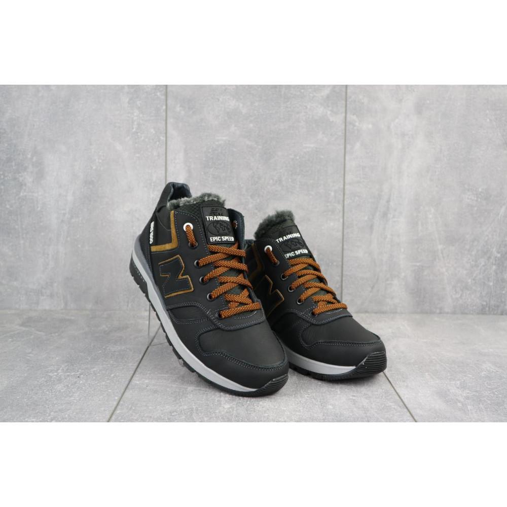 Зимние кроссовки мужские - Мужские кроссовки кожаные зимние черные-рыжие New Mercury круз ч-р